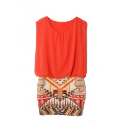 mini robe 2 tons aztec orange LA BASIQUE