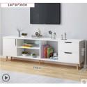 RABAIS A  Meuble TV scandinave 1 porte 2 tiroirs  140CM