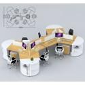 B2B Bureau openspace 6PERS + rangement neutre blanc