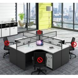 B2B Bureau call center 4PERS croisees + rangement gris