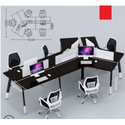B2B Bureau call center 6PERS lineaire sans rangement gris