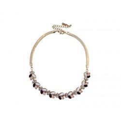 collier avec pierre blanc-noir -rose