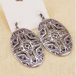 boucle pendante ovale argente azteque f21