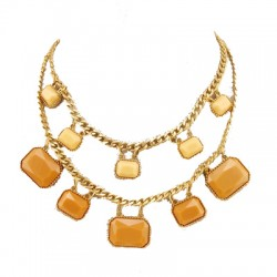 collier doree 2tonssaumons avec pierre