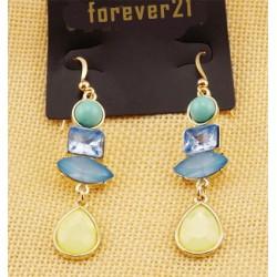 boucle doree pendante pierre bleu jaune F21