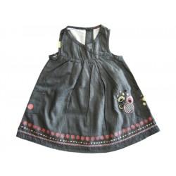 robe en jean legere grise avec fleur brode