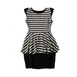 robe mc peplum raye 2 tons noir et gris LABASIQUE