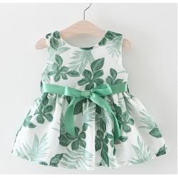 robe princesse grande feuille avec ruban verte
