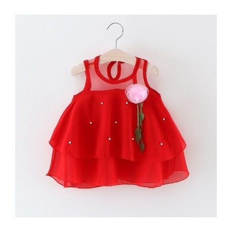 robe princesse rouge avec rose & perle blanche
