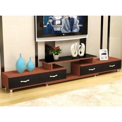 meuble Tv  etirable 4 tiroir 2 tons marron et noir