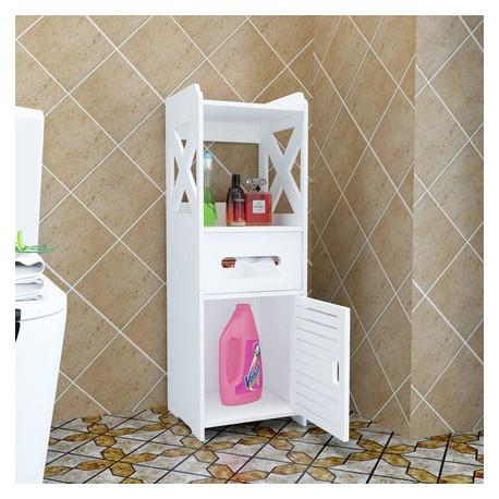 meuble rangement toilette blanc PVC