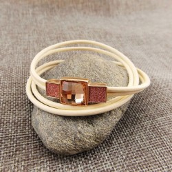 bracelet lacet blanc pierre rose