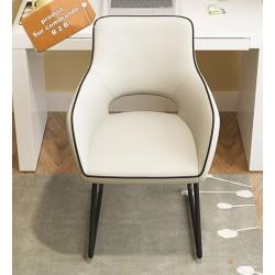 B2B fauteuil de bureau vintage blanc pieds métallique noir (marron)