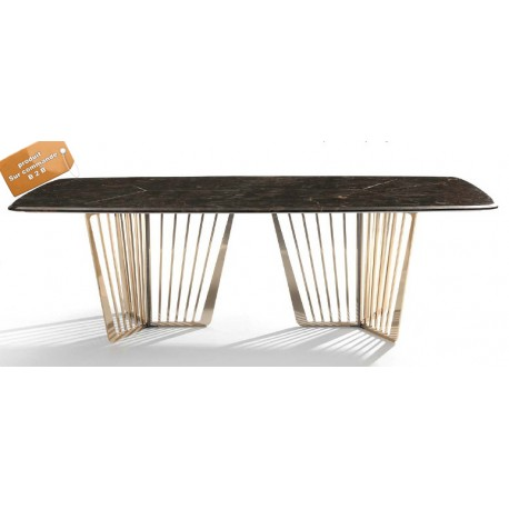 Table A Manger Marbre.B2b Table A Manger Rectangulaire En Marbre Support Metallique Dore Www Fabric Mada Com