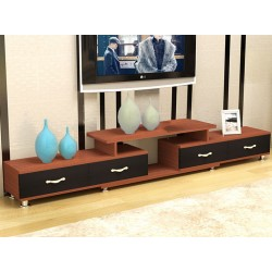 RABAIS A meuble Tv  etirable 4 tiroir 2 tons marron et noir sans vitre