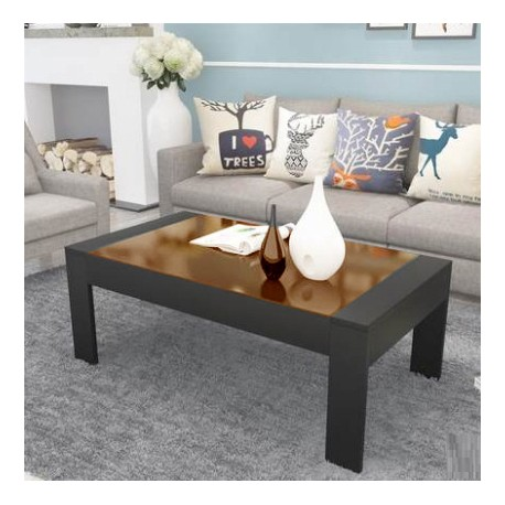 table basse rectangulaire  design  vitre noir