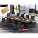 B2B table de conference melamine marron 3M + 10 chaise noir