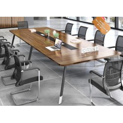 B2B table de conference melamine marron pieds simple noir&blanc 2,8M