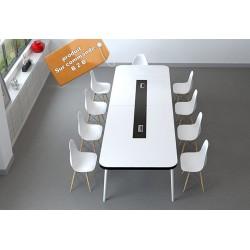 B2Btable de conference melamine blanc bande noir 2,8M + 10 chaise blanc scandinave (neutre/marron)
