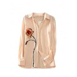 blouse saumon clair motif rose BJ Viaggio