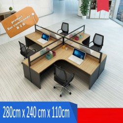 B2B table de bureau en L simple 4 poste effet neutre