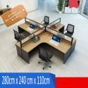 B2B table de bureau en L simple 4 poste effet neutre
