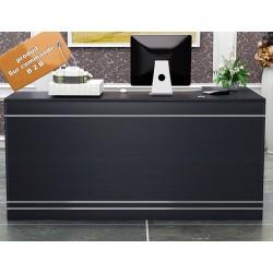 B2B mobilier d'accueil noir bande gris