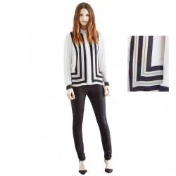 chemise geometrique blanc noir LA BASIQUE