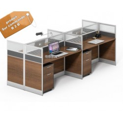 B2B table de bureau separateur gris  avec tiroir 4 poste face a face marron