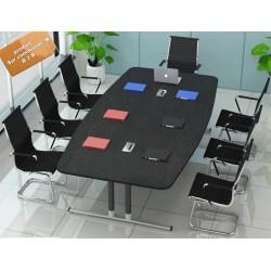 B2B table de conference melamine noir pieds plat 2,2M (effet neutre, marron, beige, autre)
