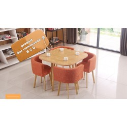 B2B table carrée melamine Nordic avec 4 chaise en tissu orange