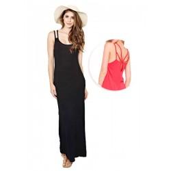robe maxi rouge bretelle BOZZOLO