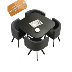 B2B table carrée melamine Nordic avec 4 chaise capitonne noir simili