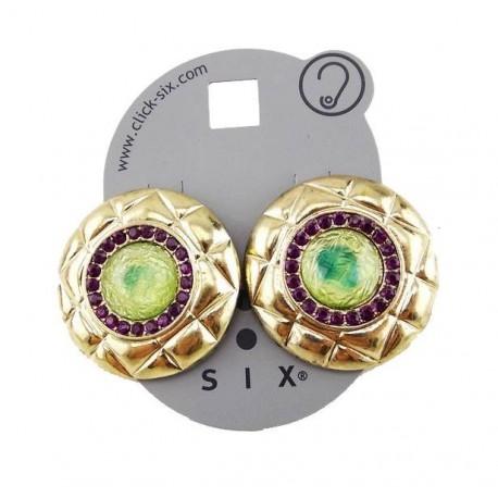 boucle plate ronde pierre vert /violet SIX