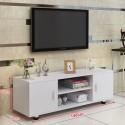 RABAIS B meuble TV melamine style moderne 2 porte blanc
