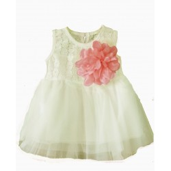 robe princesse blanche avec rose saumon