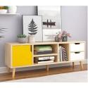 Meuble TV scandinave 1 portes et 2 tiroir Bicolore jaune