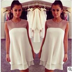 robe 2tons sm blanc et nude EBAY