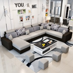 Grand canape salon tissu forme U avec accoudoirs 2 tons +  4 tabourets assortis