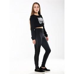 leggings noir avec cuir cote STRADIVARIUS