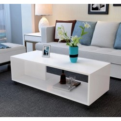 table basse salon melamine design epure blanc
