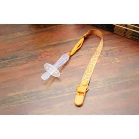 cordon pour tetine motif cerf orange