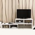 RABAIS A meuble TV melamine style moderne rectangle blanc
