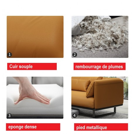 sofa extra large masculin 4 personnes cuir veritable