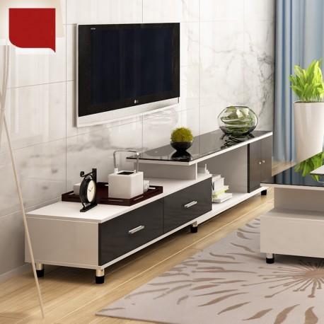03.19 meuble tv etirable 1 porte 2 tiroir blanc vitre noir