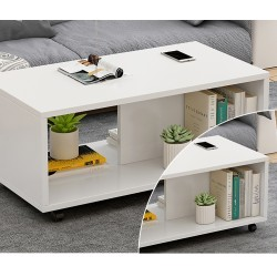 table basse salon melamine design epure blanc