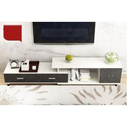 E08.19 meuble tv etirable 1 porte 2  tiroir noir et blanc