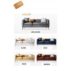 Sofa nordique cuir simili 3 pers GRIS + coussins