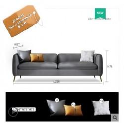 Sofa nordique cuir simili 4 pers GRIS + coussins
