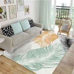 Tapis salon 3D plume turquaise fond blanc